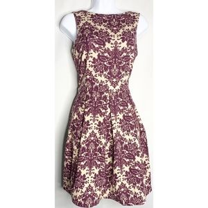 Charming Charlie purple nude floral dress s